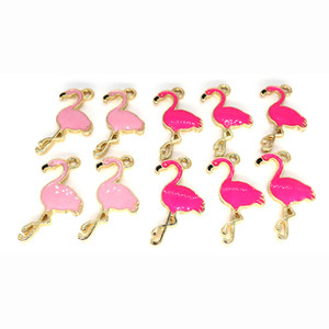 500 pcs 17 * 28mm bricolage bijoux accessoires doré alliage rose rose émail rouge animal Flamingo charmes pendentif pour bracelet CH0120