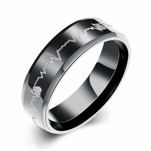 Man Stainless Steel Rings Jewelry Hot Sale Black Band Finger Ring Men Party Gift Fahion Jewelry Wholesale Free Shipping 0445WH