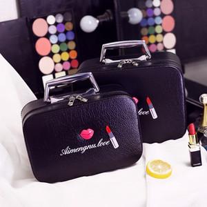 2017 boca de la moda bolsa de cosméticos bolsa de cosméticos de alta calidad de viaje de cuero de la pu bolsa de cosméticos paquete de almacenamiento impermeable hecho a mano caja de la bolsa de color rosa