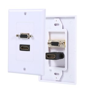 Freeshipping 1 Porta HD-MI Fêmea + 1 Porto VGA Feminino AV placa de parede Outlet Video Socket Face Conector Placa