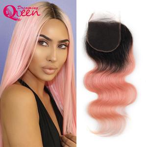 1b rosa onda do corpo lace closure ombre cabelo humano brasileiro rosa 4x4 closures virgem cabelo humano sonhando cabelo rainha