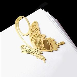 Marcador metálico Marcador accesorios de escritorio mariposa y clavel hueco de cobre regalo creativo para la familia o empresa de negocios útiles escolares