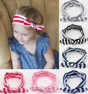 7 colores Hot Baby Headbands niños niñas encantador arco banda para el pelo niños conejo rayado conejito Liebre oreja estilo elástico HairBands
