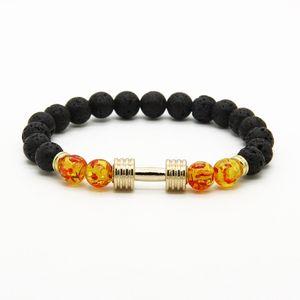 Pulseras para hombres Venta al por mayor Nuevos diseños Metal New Barbell 8mm Amber Beads Lava Rock Stone Fitness Fashion Dumbbell Bracelets
