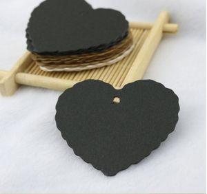 Forme de coeur 5.5 * 5.5 cm DIY Étiquette Suspendue Bijoux Cadeau Paquet Étiquette Blanc Papier Kraft Bagages Partie De Mariage Noté Étiquette Cadeau