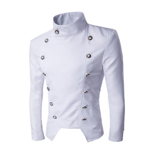Atacado-Jaquetas Homem 2016 Terno Jaqueta Blazer Masculino Noivo Double Breasted Moda Slim Fit Mens Roupas de Palco chaquetas hombre 2016