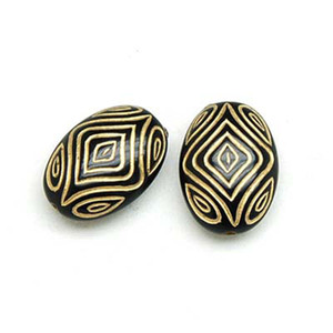 100 pcs Acrylic Flat Oval Pattern Beads With Gold Lined Antique Design Deads For Diy Jewelry Making Accessories