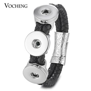 VOCHENG NOOSA Leather Bracelet Ginger Snap Charms Fit 18mm Button Black Double Braided Magnet Clasp NN-560