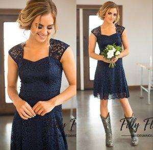 Страна 2019 Новейший Navy Blue Lace Короткие невесты платья для свадьбы Дешевые Jewel Backless Колено Длина горничной честь платья
