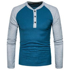 Ou code men Henry spell color de manga larga camiseta de gran tamaño 2017 otoño nuevos hombres ropa de marca