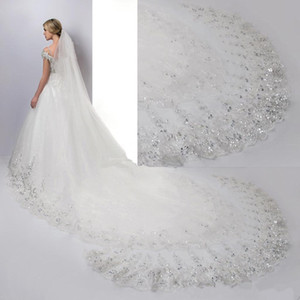 Luxury 4 Meters Long Bridal Veils Lace Sequins with Comb Applique Edge Wedding Veils Cheap Bridal Accessories CPA887