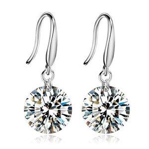 Boucles d'oreilles pendantes de mariage en argent sterling 925 femmes avec pierres boucles d'oreilles charme de la mode bijoux boucles d'oreilles mousseux boucles d'oreilles glamour