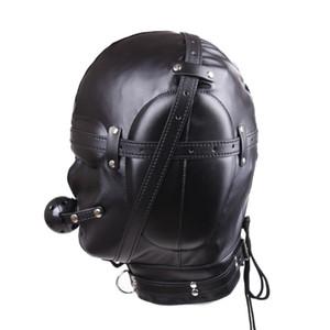 Faux Leather Full Gimp Máscara con capucha Acolchado Con los ojos vendados Boca abierta Gag Like Pene Restricción BDSM Bondage Juguetes sexuales