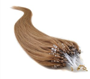 6A Micro Loop Ring Links Human Hair Extensions14-26'' 50g 100g 1g s 12# Brazilian Remy Virgin Hair Straight Keratin Pieces