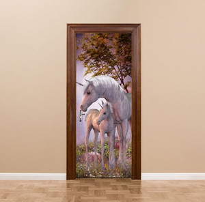 3D DIY At 77 cm * 200 cm PVC Kapı çıkartmalar / Yapıştırıcı ve çıkarılabilir Duvar Çıkartmaları Duvar Çıkartması Mural Art Ev Dekor