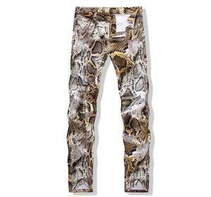 Wholesale-2016 new Arrival summer Snakeskin pattern high quality men's jeans ,men's sknny Pencil Pants jeans ,Nightclubs pants