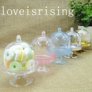 5 couleurs pick - 50 pcs clair mini stand de gâteau de mariage en plastique boîtes à bonbons bébé douche anniversaire table sucrée réception décor idées boîtes à gâteaux