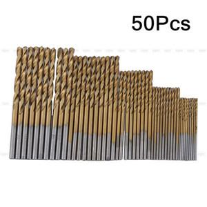New 50x 1 1.5 2 2.5 3mm HSS High Speed Steel Drill Bit Set Tools Titanium Coated