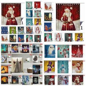 Navidad cortina de ducha de Halloween tela resistente al moho impermeable poliéster cortina de ducha 150X180cm 46 estilos cortina OOA3129