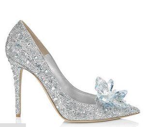 Las mujeres de las mujeres Cenicienta Crystal Rhinestone Tacones de aguja Partido Boda Stilettos Bombas Zapatos accesorios nupciales de plata regalo de gran tamaño de Navidad