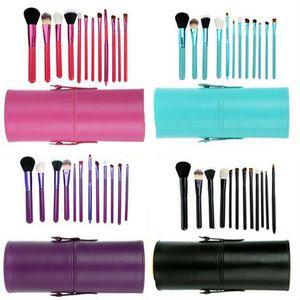12 adet Makyaj Fırça Seti + Bardak Tutucu Profesyonel Kozmetik Fırçalar seti Ile Silindir Bardak Tutucu DHL Ücretsiz JJD2213