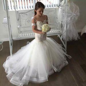 Robes élégantes de fleurs de sirène pour mariages Robes Spaghetti Dentelle Appliques Tulle Robe Flowergirl Filles