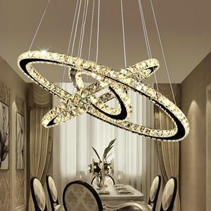 Moderno DIY K9 Cristal Lámpara de cristal LED Cirquero redondo Colgante Iluminación 3/2 Anillos Lámpara colgante Lustre Lustre de acero inoxidable Chandelier