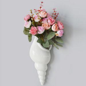 우아한 흰색 유럽 스타일 우아한 conch 모양의 세라믹 벽 매달려 화분 꽃병 벽화 호텔 카페 홈 인테리어에 대한
