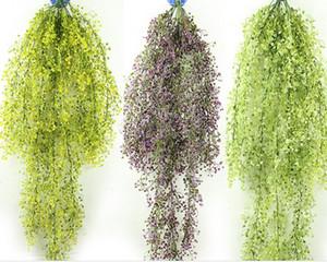 انفجار 115 سنتيمتر جرس الجدار شنقا الجدار الديكور ليو محاكاة النباتات الزهور البلاستيكية ، السحلية الروطان سلة