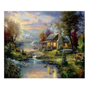Thomas Kinkade Landschaftsölgemälde Drucke auf Leinwand Wandkunst Bild für Wohnzimmer Einrichtungsgegenstände Ungerahmt HD-12041