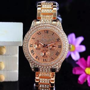 Orologi di lusso per donna Orologi al quarzo con diamanti Data marca 3 occhi Bracciale donna Designer orologi da polso 3 colori