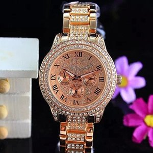 Luxus-Uhren für Frauen Diamanten Quarz Uhren Marke Datum 3 Augen Frauen Armband Damen Designer Armbanduhren 3 Farben