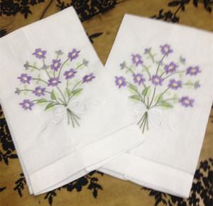 """Textil para el hogar de lino blanco Ladies Handkerchief Hand Towel 12PCS / lot 14x22 """"Bordes hermosos Hemstitched bordado toallas de lino blanco invitado"""