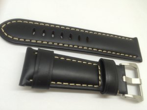 New Mens Watch Watchband Black Leather 24mm, top quality, best price, free delivery.