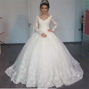 De los vestidos de boda del hombro Longitud de manga larga del piso del Applique de boda vestidos de novia por encargo del nuevo cordón robe de soirée longue