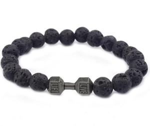 2017 Bonne Qualité Nouveau Design Hommes Bracelets 8mm Pierre De Lava Perles Avec Antique Or Argent Haltère Gym énergie Bracelets Bracelets GG46