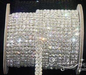 Wedding Jewelry 2-Row ss16 clear crystal rhinestone trims close chain silver 10 yard