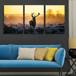 3 piece canvas art African sunset deer painting group children's room decor poster painting canvas art high quality video