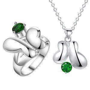 Le papillon argent avec 925 diamant costume Xian beauté mode cristal zircon pendentif collier bague bijoux ensemble en gros.