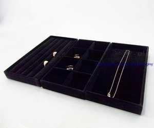 Hot Sale Portable Jewelry Display Velvet Tray Ring Earrings Necklace Carrying Case Jewelry Box Organizer Holder 3pcs Free Shipping