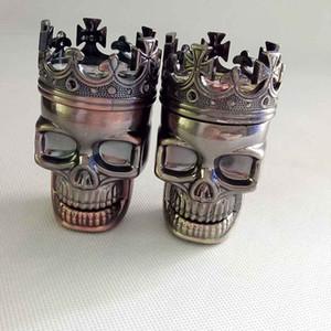 King Skull Shape Metalplastic Tobacco Grinder Kochwerkzeug Herb Smoke Grinders Muller Magnetic 3 Teile 2 Farben Verkauf