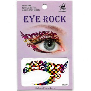 Free shipping 12pieces HSA four design mix Waterproof left Right in 1bags temporary tattoo face eye tattoo sticker eye rock for party