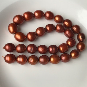 13-14mm 백색 초콜렛 브라운 경작한 담수 진주 밥 타원형 느슨한 구슬 자연 원형 원석 질 2 개의 색깔