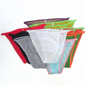 Bikini de cuerda para hombre de algodón fino y fino G342C Colors Bragas de ropa interior sexy Bolsillo delantero de algodón fino Jersey de algodón Confort suave