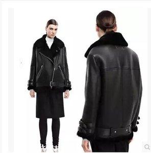 2016 여성 진짜 토끼 모피 가짜 가죽 짧은 스웨이드 Shearling 코트 지퍼 의류 빈티지 오토바이 자켓