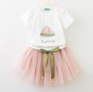 2017 été filles vêtements ensembles pastèque imprimé T-shirt + gaze jupe deux pièces Tenue de mode vêtements pour enfants E869
