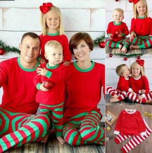 3 stilleri Avrupa ve Amerika Yeni Noel stilleri sıcak satış çocuk takım elbise pamuk uzun kollu Kırmızı yeşil stripes Ev aile giyim