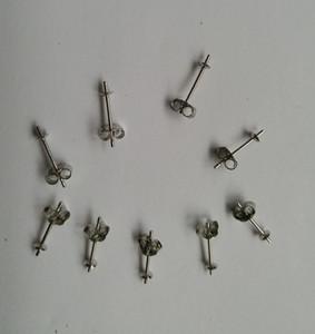 2 paires (4 pièces) / ensemble en argent sterling 3mm Boucles d'oreilles Post | Boucles d'oreille sertie de perles
