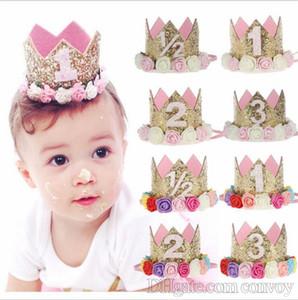 Fasce per capelli corona di fiori per bambini Fasce per capelli per feste di compleanno per bambini neonati accessori per capelli principessa Glitter Sparkle Fasce per capelli carine KHA461