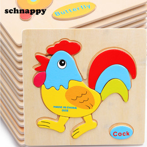Дети животные деревянные головоломки детские развивающие игрушки игры картинки пазлы игрушки для детей подарки juguetes educativos